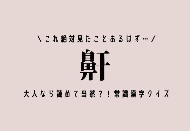これ絶対見たことあるはず…【鼾】大人なら読めて当然?!常識漢字クイズ